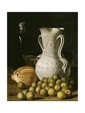 Still Life with Small Pears  Bread  White Pitcher  Glass Bottle  and Earthenware Bowl  1760