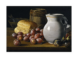 Still Life with Plums  Figs  Bread and Fish