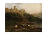A Herd of Bulls by a River and a Castle Above  1837
