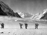 Four Hunza Porters on the Way Towards the Abruzzi Ridge for the Ascent of K2
