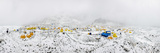 Panorama of Everest Base Camp on the Khumbu Glacier in Nepal after a Fall of Snow