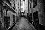 A Narrow Cobblestone Street in Stockholm's Old Town  Gamla Stan