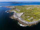 Aerial View of the Island of Inisheer and the Aran Islands  Ireland