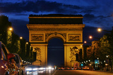 The Arc De Triomphe  and Champs-Elysees Avenue with Traffic at Night