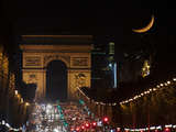 The Setting Crescent Moon at the Arc De Triomphe and Champs-Elysees Avenue