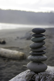 Stacked Up Pebbles on Third Beach on the Olympic Peninsula