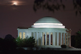 Moonrise over the Jefferson Memorial Illuminated at Night