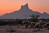 Evening Twilight over a Desert Landscape and Jagged Rock Formations