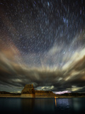 Storm Clouds  Lightning  and Star Trails over Lake Powell  a Reservoir on the Colorado River