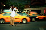 A Young Skateboarder in Union Square  New York City