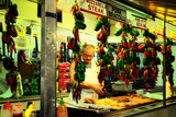 Street Vendor at a Market in Little Italy Selling Italian Specia