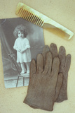 Pair of Pale Brown Cotton Victorian Childs Gloves Lying