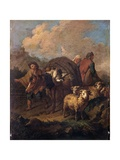 Shepherds Travelling with Donkey and Sheep