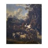 Pastoral Scene (Shepherds in Mountain Landscape)  Nordic School  C 1675-99