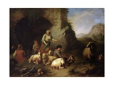 Pastoral Scene (With Shepherds  Sheep  Goats in Picturesque Ruins)
