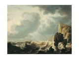 Stormy Sea with a Cliff (Ship tossed in Waves)  after Simon Jacobsz De Vlieger  Ca 1640-1660