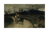 Going Back Home (Little Shepherdess with Flock of Goats in a Country Lane)