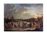 Frozen River with Skaters  after Bout Pieter  1690 - 1710