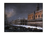Venice with St Mark's Pier under the Snow