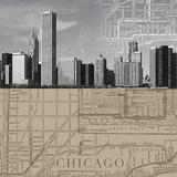 Chicago Map II Giclée par The Vintage Collection