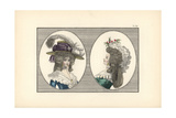 Woman in English-Ingenue Headdress with Feathers  and Woman with Hedgehog Hairstyle and Lazy