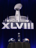 NFL Super Bowl 2014: Feb 2  2014 - Broncos vs Seahawks - Super Bowl XLVIII Helmets  Lombardi Trophy