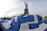 NFL Super Bowl 2014: Feb 2  2014 - Broncos vs Seahawks - 12th Man Flag at Statue of Liberty
