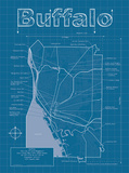 Buffalo Artistic Blueprint Map