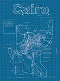 Cairo Artistic Blueprint Map Reproduction d'art par Christopher Estes