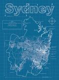 Sydney Artistic Blueprint Map Reproduction d'art par Christopher Estes