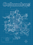 Columbus Artistic Blueprint Map