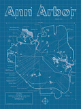 Ann Arbor Artistic Blueprint Map