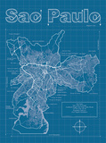 Sao Paulo Artistic Blueprint Map