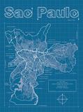 Sao Paulo Artistic Blueprint Map Reproduction d'art par Christopher Estes