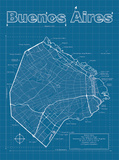 Buenos Aires Artistic Blueprint Map