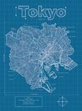 Tokyo Artistic Blueprint Map Reproduction d'art par Christopher Estes