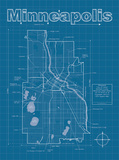 Minneapolis Artistic Blueprint Map