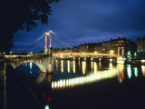 St Georges Bridge over River Saône at Night  France