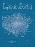 London Artistic Blueprint Map