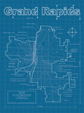 Grand Rapids Artistic Blueprint Map