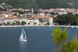 Makarska Harbour with Yacht  Dalmatian Coast  Croatia  Europe
