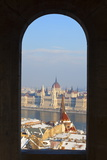 Hungarian Parliament and River Danube on a Winters Afternoon  Budapest  Hungary  Europe