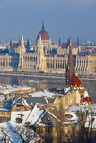 Hungarian Parliament Illuminated by Warm Light on a Winter Afternoon  Budapest  Hungary  Europe