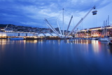 The Bigo with Lift Raised in the Old Port at Dusk  Genoa  Liguria  Italy  Europe