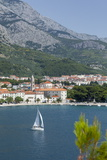 Makarska Harbour with Yacht and Mountains Behind  Dalmatian Coast  Croatia  Europe