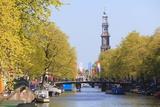 Westerkerk Church Tower by Prinsengracht Canal  Amsterdam  Netherlands  Europe