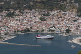 Aerial View of Ferry in Harbour  Skopelos  Sporades  Greek Islands  Greece  Europe