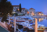 Harbour Lit Up at Dusk  Bol  Brac Island  Dalmatian Coast  Croatia  Europe