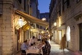 People Eating at Outdoor Restaurant at Dusk in the Old Town  Dubrovnik  Croatia  Europe