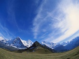 Fish Eye Lens of Mt Eiger  Mt Jungfrau and Mt Monch  Bernese Oberland  Switzerland